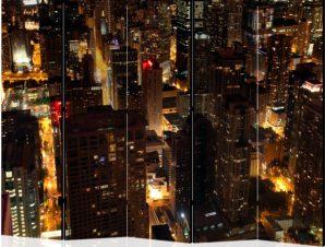 Διαχωριστικό με 5 τμήματα – City by night – Chicago, USA II [Room Dividers]