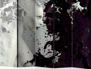 Διαχωριστικό με 5 τμήματα – Black and White Faces II [Room Dividers]