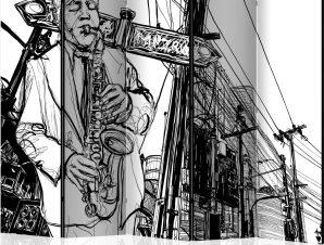 Διαχωριστικό με 5 τμήματα – Saxophone recital on Broadway II [Room Dividers]