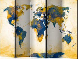 Διαχωριστικό με 5 τμήματα – Map of the World – Sun and sky II [Room Dividers]